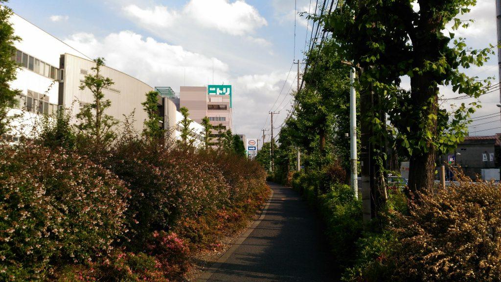 神谷陸橋から直進